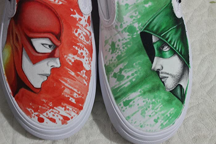 0043eda68e Amazon.com  Flash and Arrow Vans Custom Vans Shoes Hand Painted Canvas  Sneakers Shoes For Men Women Free Shipping  Handmade