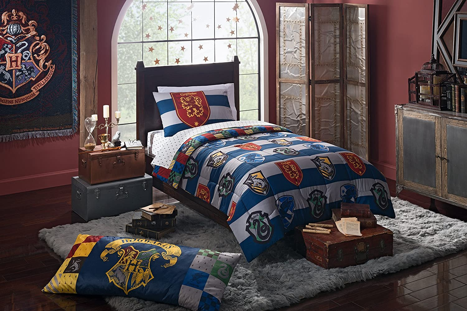 4 Piece Kids Blue White Multi Harry Potter Rugby Pride Comforter with Sheets Twin Set, Magical Hogwarts House Theme, Bold Stripes Pattern Background, Extra Soft & Comfy Reversible Bedding, Polyester NE