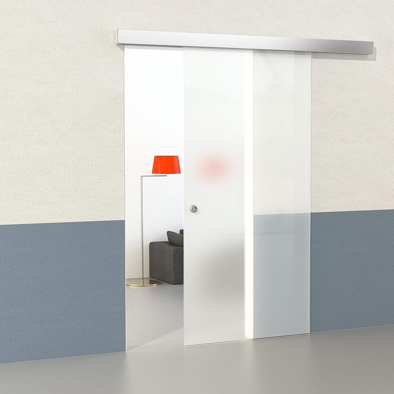 DURADOOR Juego de cristal de seguridad en puerta corredera de cristal satinado 2050 mmx900 mm Puerta Corredera de Cristal sobre ruedas Puerta corrediza Puerta de Cristal Templado de Juego completo de correderas