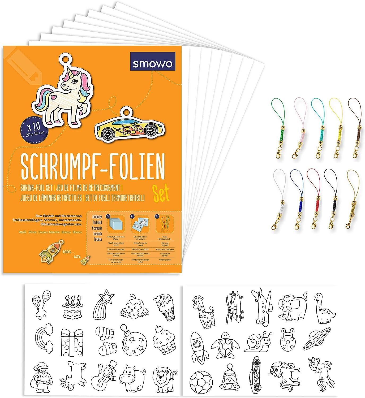 Smowo conjunto plástico mágico encogible con llaveros - 10 láminas de papel mágico - con motivos - A4 mate transparente