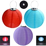 """HKBAYI 3PCS/set 30cm Solar Powered Hanging Oriental 12"""" 12inch Weatherproof Rechargeable Nylon Chinese Lanterns with 1W 5050SMD LED light Bulb and AA Battery - Red Purple and Blue"""