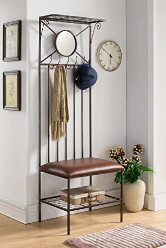 Kings Brand Furniture Entryway Hallway Storage Bench with Coat Rack