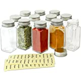 SimpleHouseware 12 Square Spice Bottles w/ label Set