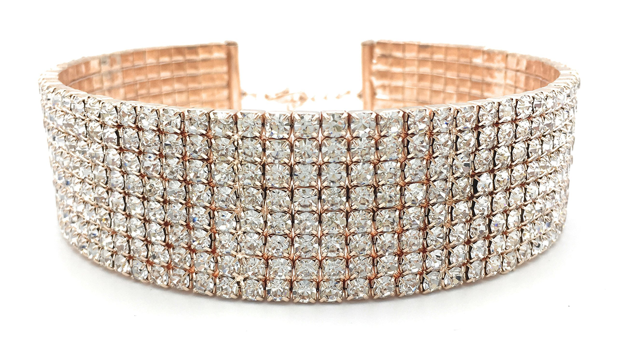 Rose Gold Rhinestone Choker 8 Row - Women's Crystal Diamond Elements Necklace with 5-Inch Extension Chain - Classic Fashion Jewelry Matches Earrings, Bracelets and Rings Flawlessly (8 Row Wide)