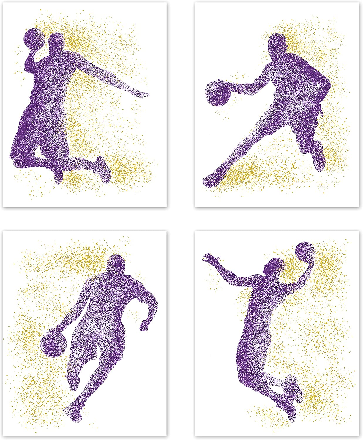 Sports Basketball NBA Wall Art Posters Home Room Decor L.A. Los Angeles Lakers Kobe Bryant Man Cave Silhouette Pictures Prints Decorations for Boys Kids Men Teen College Dorm Bedroom Set of 4-8 x 10
