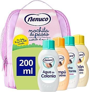 Nenuco Pack Bebé Mochila de Paseo color rosa, contiene colonia, jabón, champú y leche hidratante, 4 x 200 ml: Amazon.es: Belleza