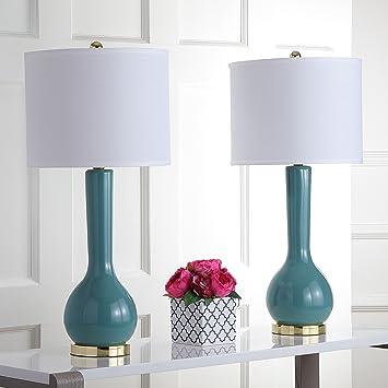 Safavieh Lighting Collection Mae Long Neck Marine Blue Ceramic 30.5 Inch Table  Lamp (Set