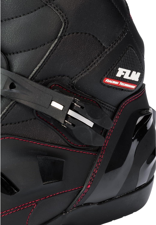 Schaltverst/ärkung FLM Motorradschuhe Motorradstiefel kurz Herren 41-46 seitlicher Zipper Bel/üftungssystem Metallzehenschleifer Kn/öchelprotektoren schwarz Klettriegel Verschluss-Schnalle