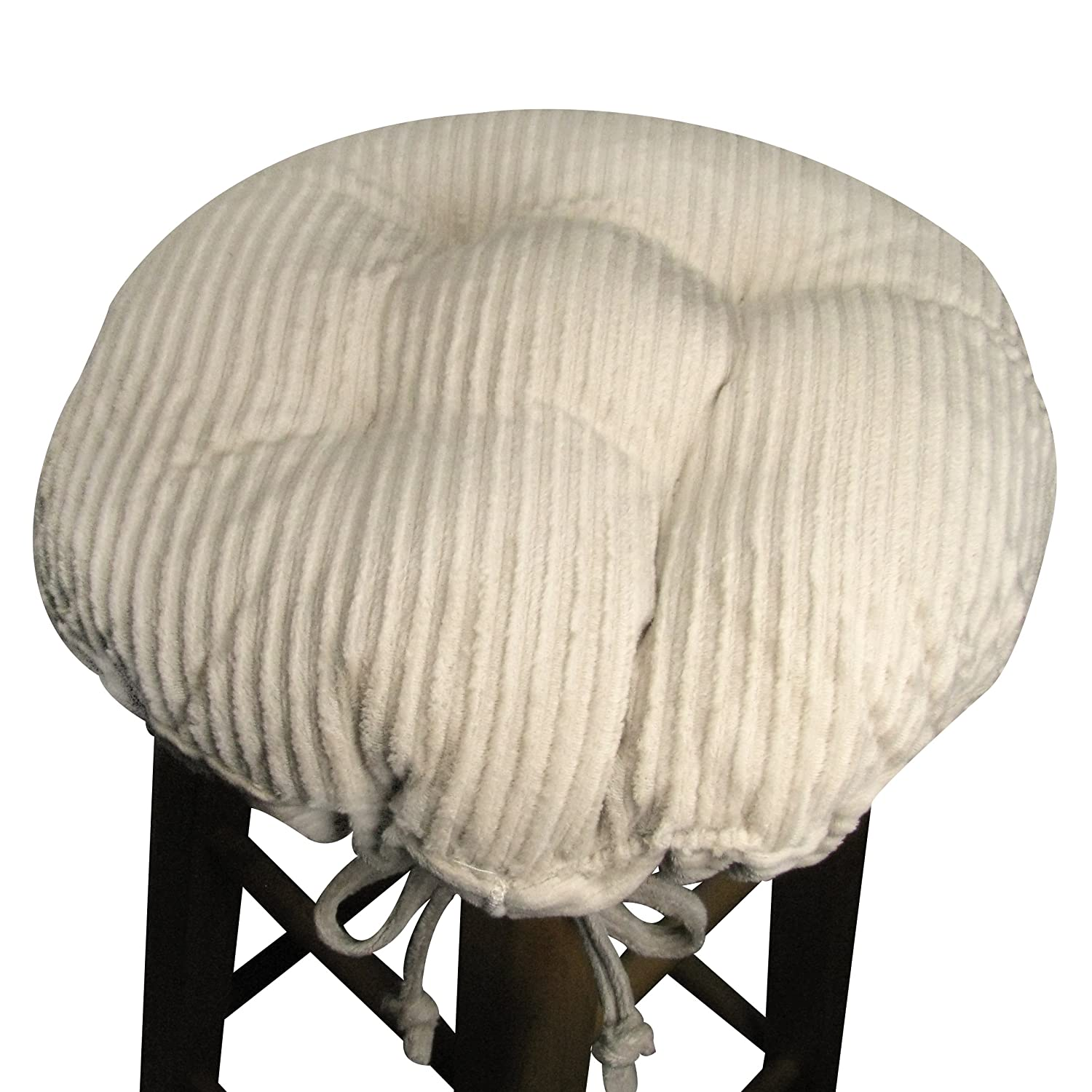 """15"""" Round Bar Stool Cover with Adjustable Drawstring Yoke - Wide Wale Corduroy Natural - Extra Large Size - Latex Foam Fill Barstool Cushion - Made in USA (Natural, Extra-Large)"""