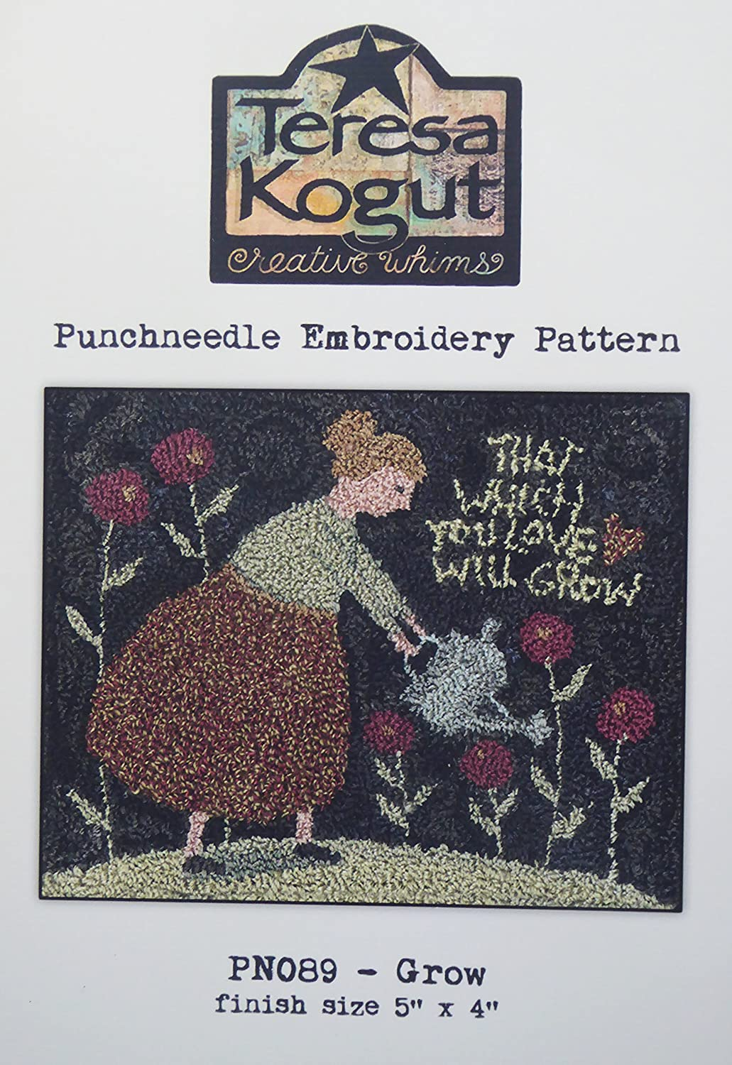 Grow PN089 Gardening Love Punchneedle Punch Needle Embroidery Teresa Kogut Pattern