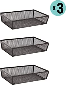 "Finnhomy Mesh Drawer Organizer Shelf Storage Bins School Supply Holder Office Desktop Cabinet Brown 6""x 9"" - 3 Pack"