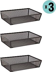 """Finnhomy Mesh Drawer Organizer Shelf Storage Bins School Supply Holder Office Desktop Cabinet Brown 6""""x 9"""" - 3 Pack"""