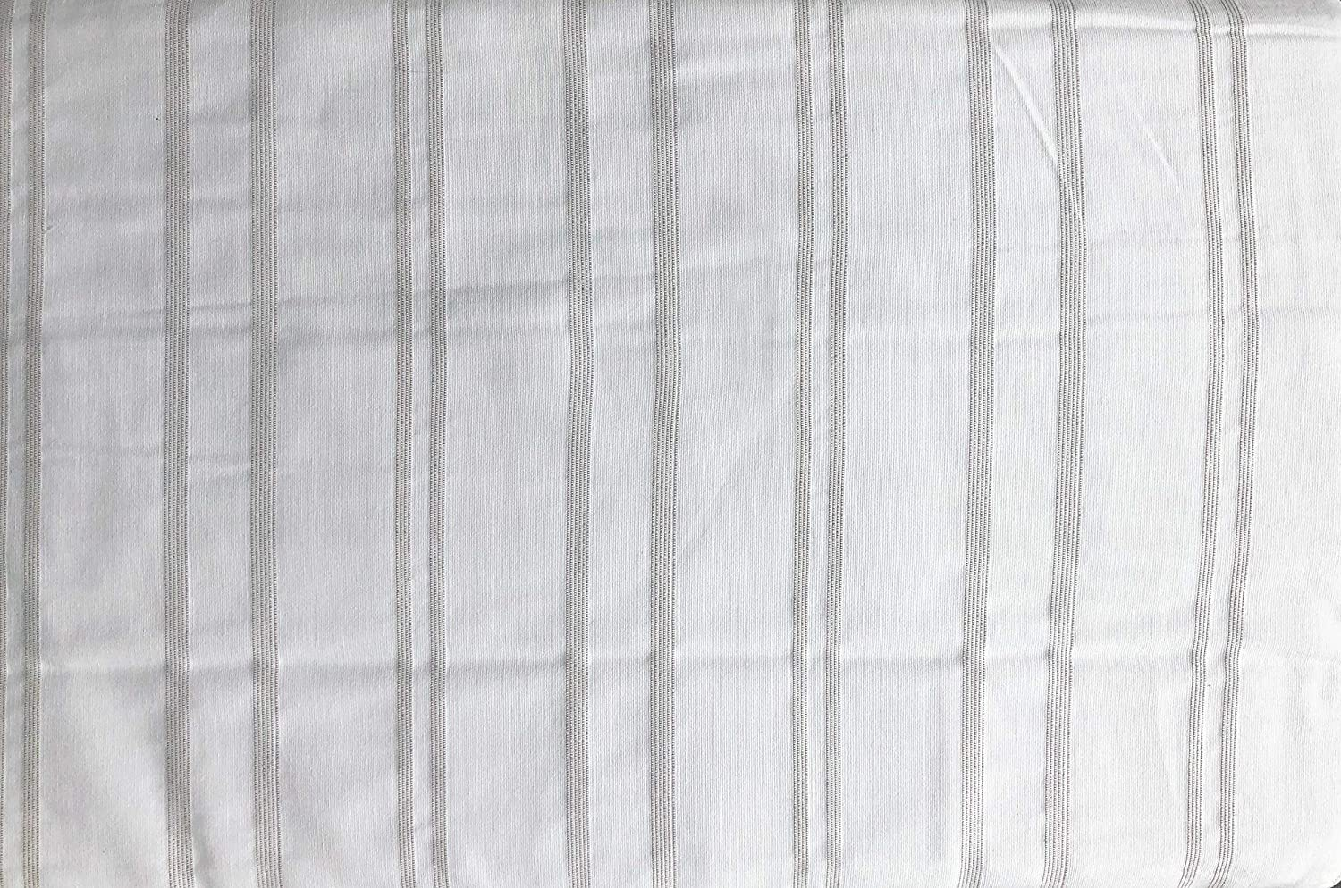 Inup Portugal 3pc Duvet Cover Set Thin Taupe Thread Stripes in Groups on White Comforter Quilt Cover 100% Cotton Luxury ( King)
