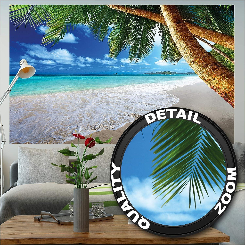 GREAT ART Photo Wallpaper – Palm Beach ‒ Picture Decoration Caribbean Dream Beach Bay Paradise Nature Tropical Island Trees Isle Blue Sky Image Decor Wall Mural (82.7x55.1in - 210x140cm)