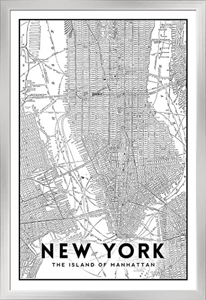 New York Map Black And White.Amazon Com New York City New York Manhattan Map Black And