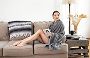 """Chic Home Elke Wrap Snuggle Robe Cozy Super Soft Ultra Plush Faux Fur Fleece Wearable Blanket with 2 Pockets and Decorative Pom Poms50"""" x 60"""", 50 x 60, Grey"""