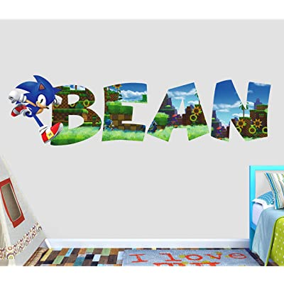 Sonic Customize Your Name Wall Decal Decor Sticker Kids Vinyl Decal 3D - Wall Sticker - Custom Your Photo - VICK54 (Medium W 36 x 12 H Inches): Home & Kitchen