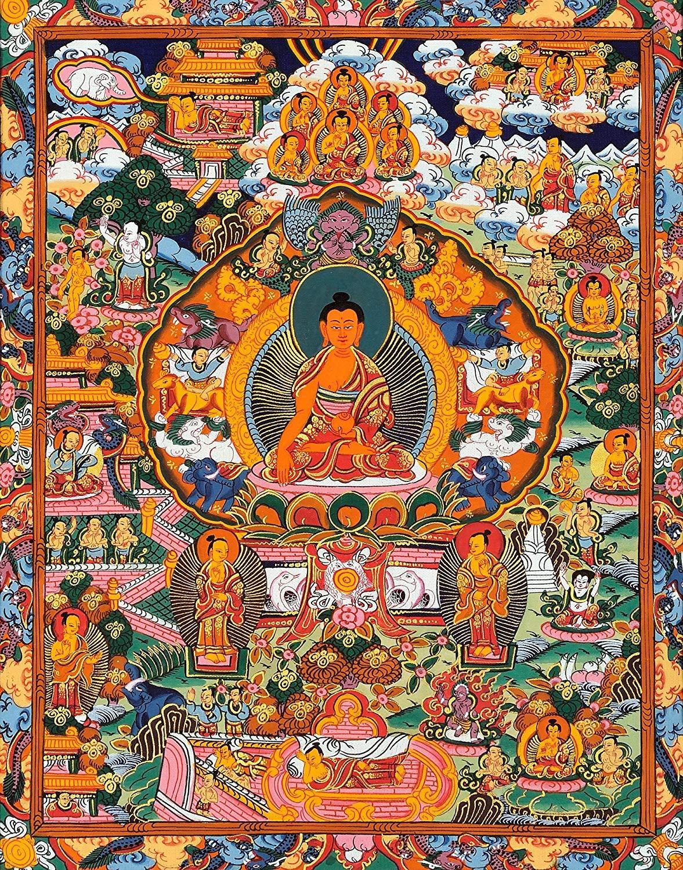Alldecor Kunstdruck auf Leinwand, Wanddekoration, Tibetisch, Tibetisch, Tibetisch, Thangka Tangkas Buddha Buddhistische Kunst Thanka, Wanddekoration, gespannt und gerahmt, fertig zum Aufhängen 20 X 30 Palden Lhamo 02 323787