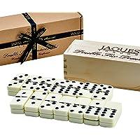 Jaques Jeu Domino Enfant Et Adultes - Club Double Six Domino Emfant dans Une Boîte à Couvercle Coulissant en Bois