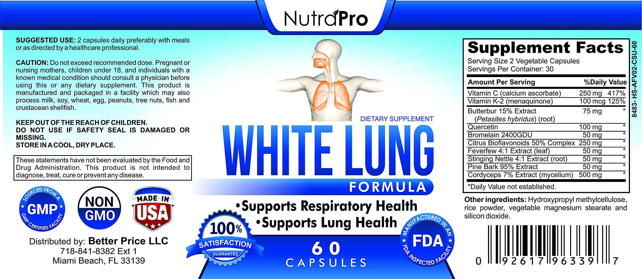 White Lung by NutraPro Lung Cleanse & Detox. Support Lung Health After Years Of Smoking. Supports Respiratory Health. 60 Capsules Made In GMP Certified Facility.