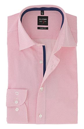 OLYMP Level Five body fit Hemd Langarm New Kent Kragen Muster pink