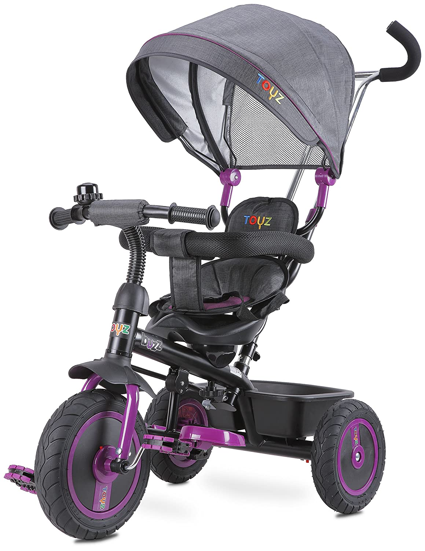 CARETERO Toyz Buzz Dreirad Kinderdreirad Dreiradfahrzeug Fahrrad mit abnehmbarer Schubstange, geräumigem Spielzeugkorb und Sonnendach
