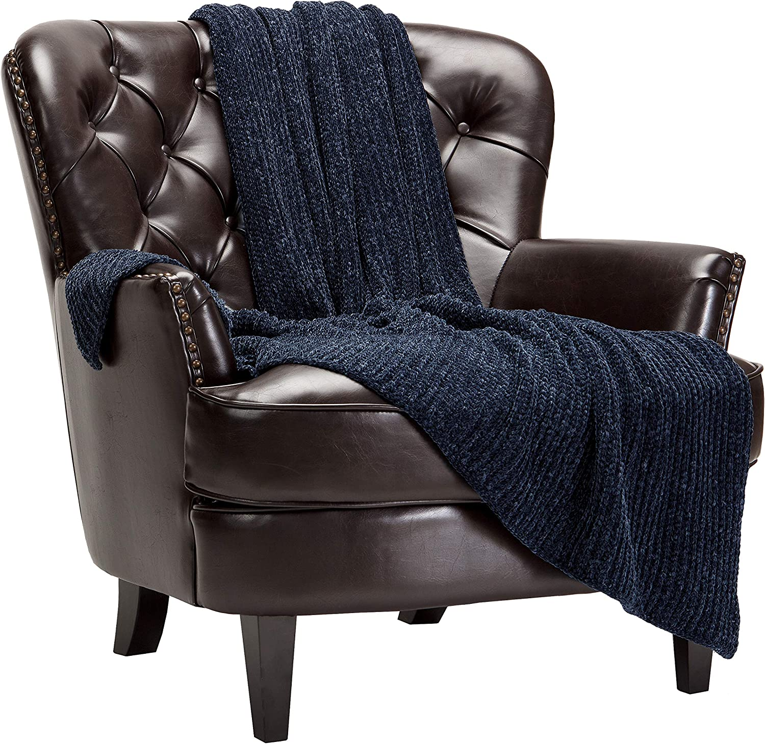 Chanasya Chenille Knit Super Soft Velvety Texture Throw Blanket - Cozy Classy Elegant Decorative with Subtle Shimmer for Sofa Chair Couch Bed Living Bed Room Dark Gray Blanket -(50x65 Inches) Charcoal