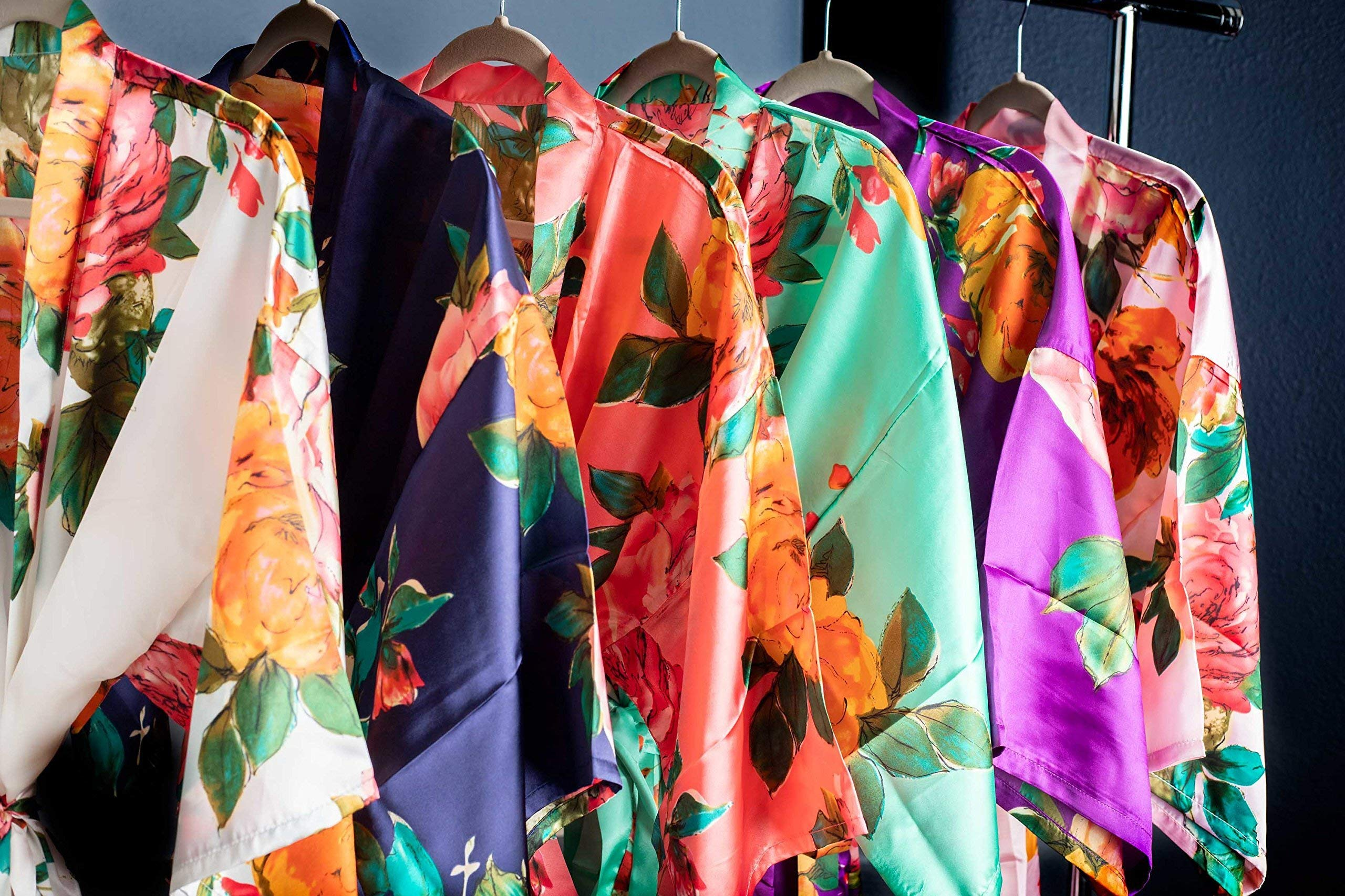 Satin Floral Watercolor Bridal Party Robes Available in Six Colors