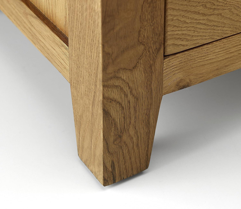 Julian Bowen Marlborough legno di quercia in legno di quercia cerato cerato Comodino con 3 cassetti