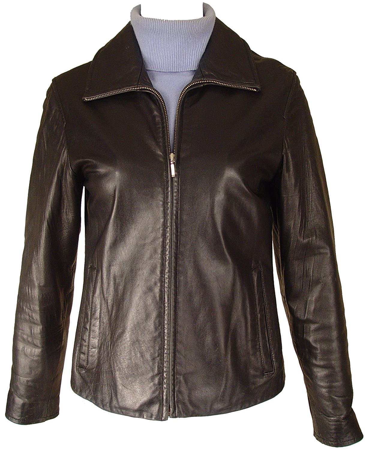 Paccilo Women 4016 PETITE & ALL SIZELamb Scuba Leather Jacket 4016prmblzptt