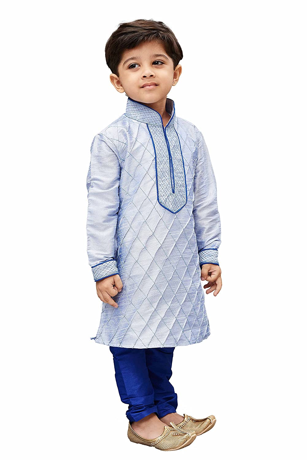 f5c1dbe0b JBN Creation Boys Cotton Silk Kurta and Pyjama Set (Light  Blue_VASBKHA004nPBU): Amazon.in: Clothing & Accessories