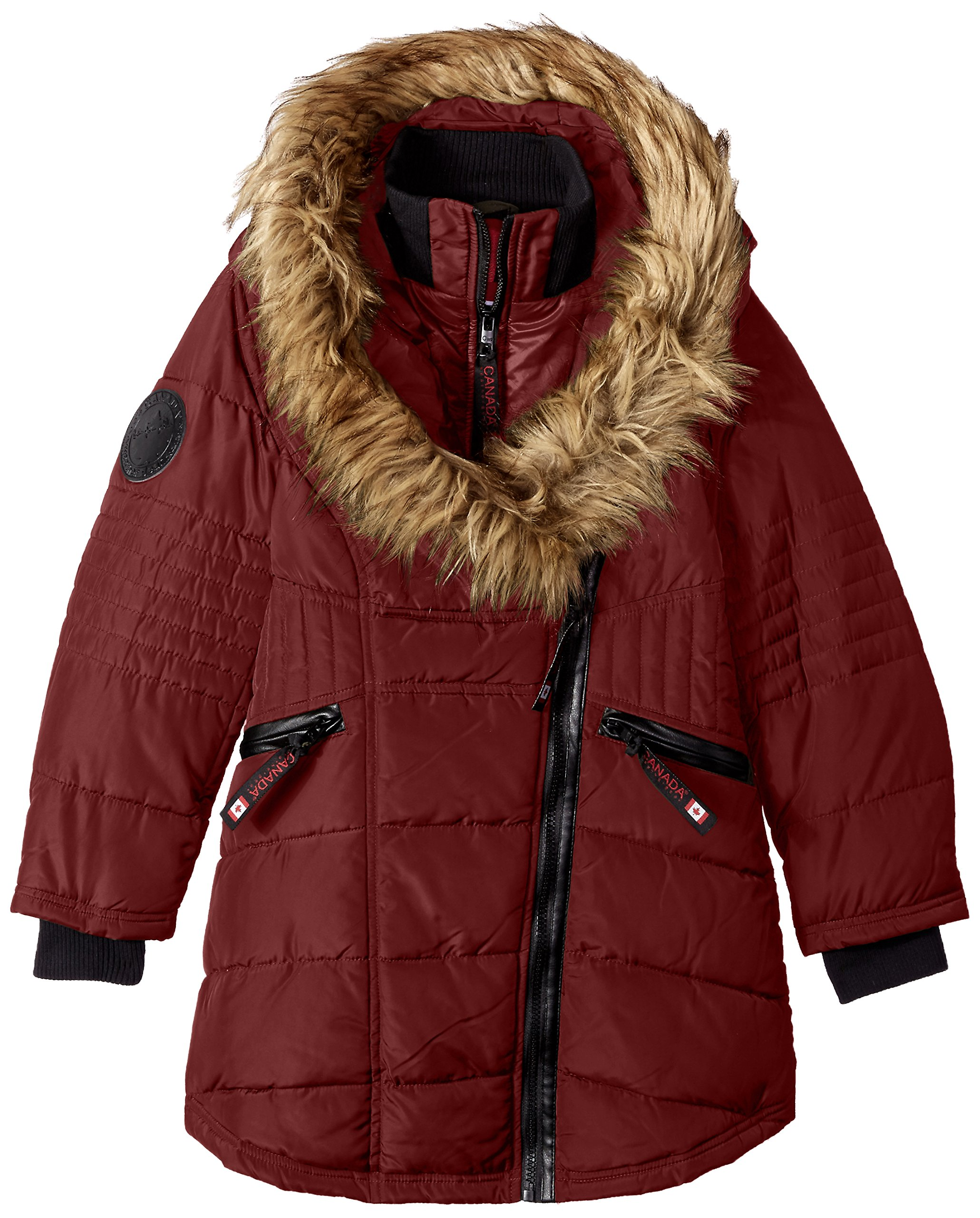 CANADA WEATHER GEAR Big Girls' Long Outerwear Jacket (More Styles Available), Long Bubble/Wine/Natural, 10/12