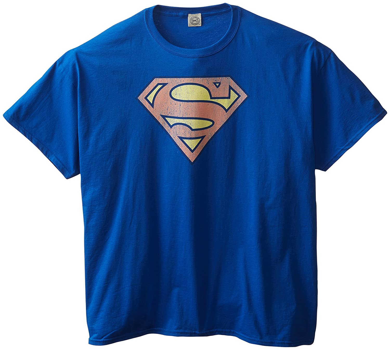 Superman DC Comics Logo Vintage Style Distressed Superhero Adult T-Shirt Tee