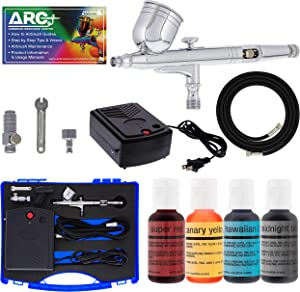Master Airbrush Cake Decorating Airbrushing System Kit with a Set of 4 Chefmaster Food Colors, Gravity Feed Dual-Action Airbrush, Air Compressor, Hose, Storage Case and How-to-Airbrush ARC Link Card
