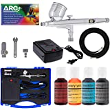Master Airbrush Cake Decorating Airbrushing System Kit with a Set of 4 Chefmaster Food Colors, Gravity Feed Dual-Action…