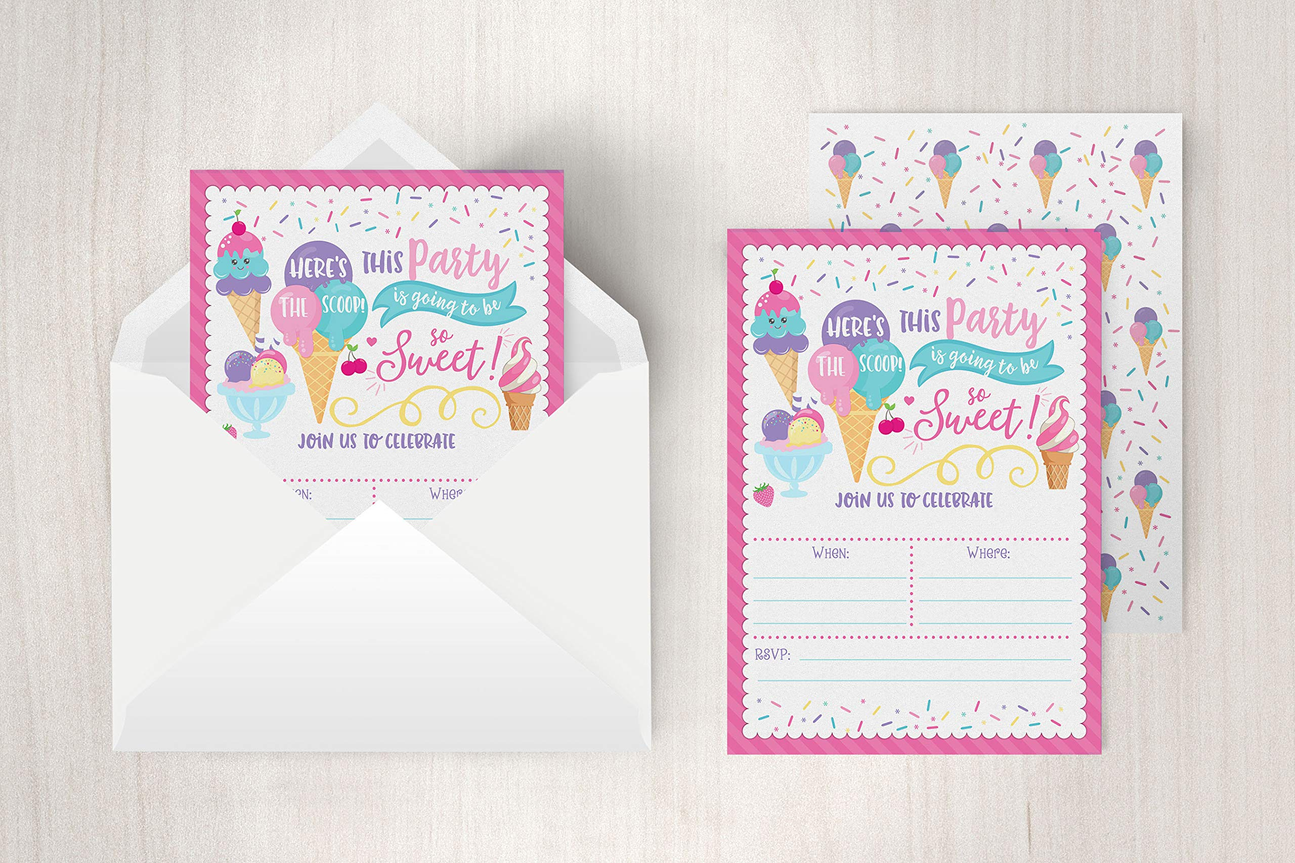 Ice Cream Birthday Party Invitations, Girl Birthday Invitations, Here's The Scoop, Ice Cream Social, 20 Fill in Invitations and Envelopes by Your Main Event Prints (Image #2)