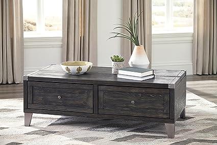 Todoe Dark Gray Color Contemporary Lift Top Cocktail Table