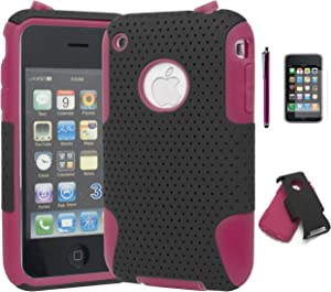iPhone 3 Phone Case, Bastex Heavy Duty Hybrid Soft Hot Pink Silicone Gel Cover Hard Black Mesh Case for iPhone 3, 3G, 3S, 3GSINCLUDES Screen Protector and Stylus