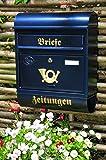 Großer Massivstahl-Briefkasten, verzinkt mit Rostschutz Runddach R blau edelblau dunkelblau Metall Zeitungsfach Zeitungsrolle Postkasten