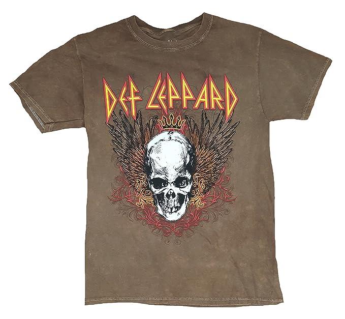 8a07fdc56d02e Amazon.com  Fashion Def Leppard Brown Graphic T-Shirt  Clothing