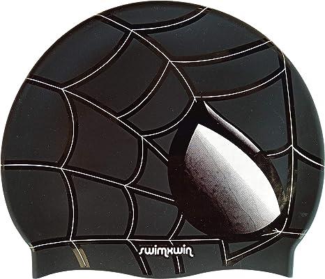 Swimxwin Gorro de Silicona Spider Negro | Gorro de Natación| Alta ...