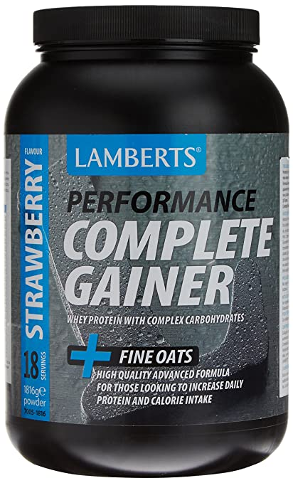 Lamberts Complete Gainer Suplemento para Deportistas, Sabor a Fresa - 1816 gr