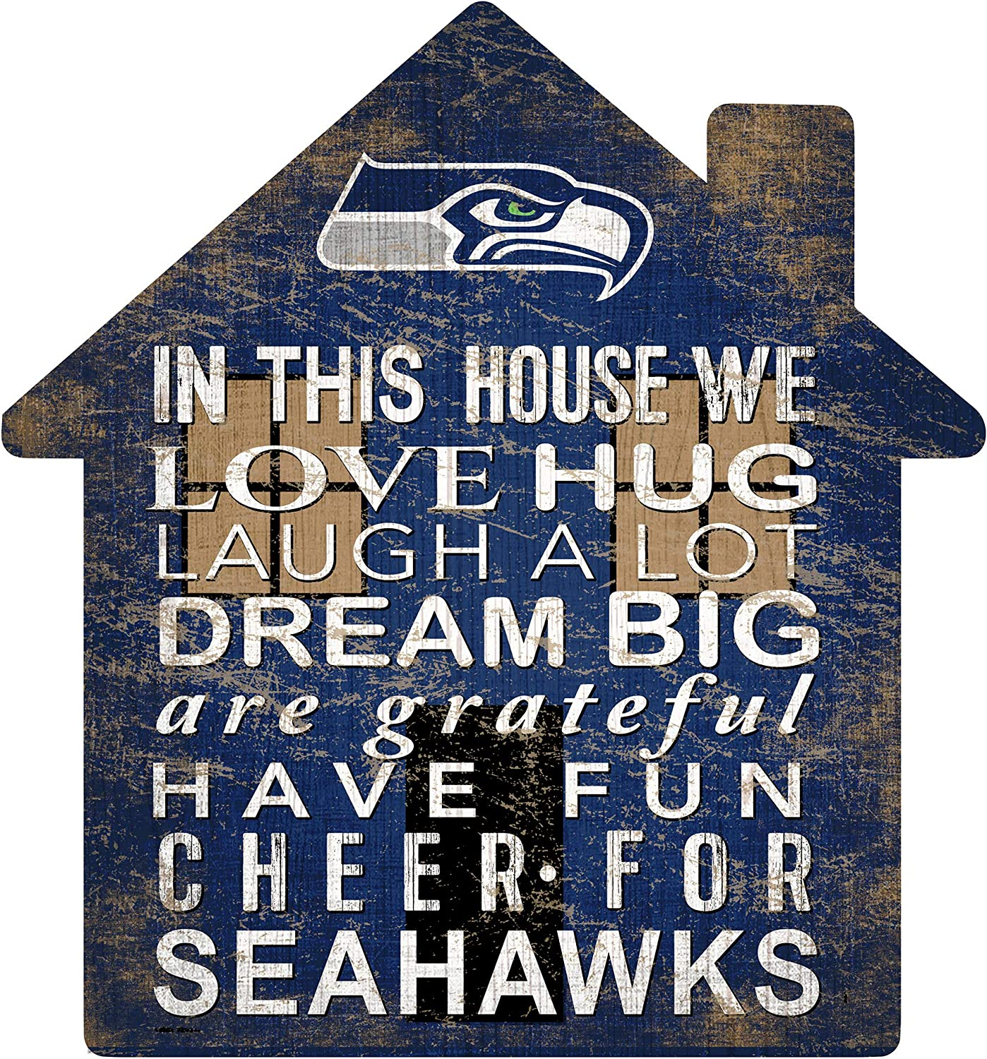 Fan Creations NFL Seattle Seahawks Unisex Seattle Seahawks House Sign, Team Color, 12 inch