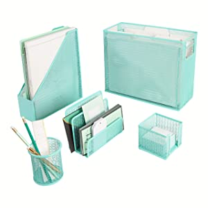 Blu Monaco 5 Piece Cute Office Supplies Aqua Desk Organizer Set - with Desktop Hanging File Organizer, Magazine Holder, Pen Cup, Sticky Note Holder, Letter sorter - Aqua Desk Accessories