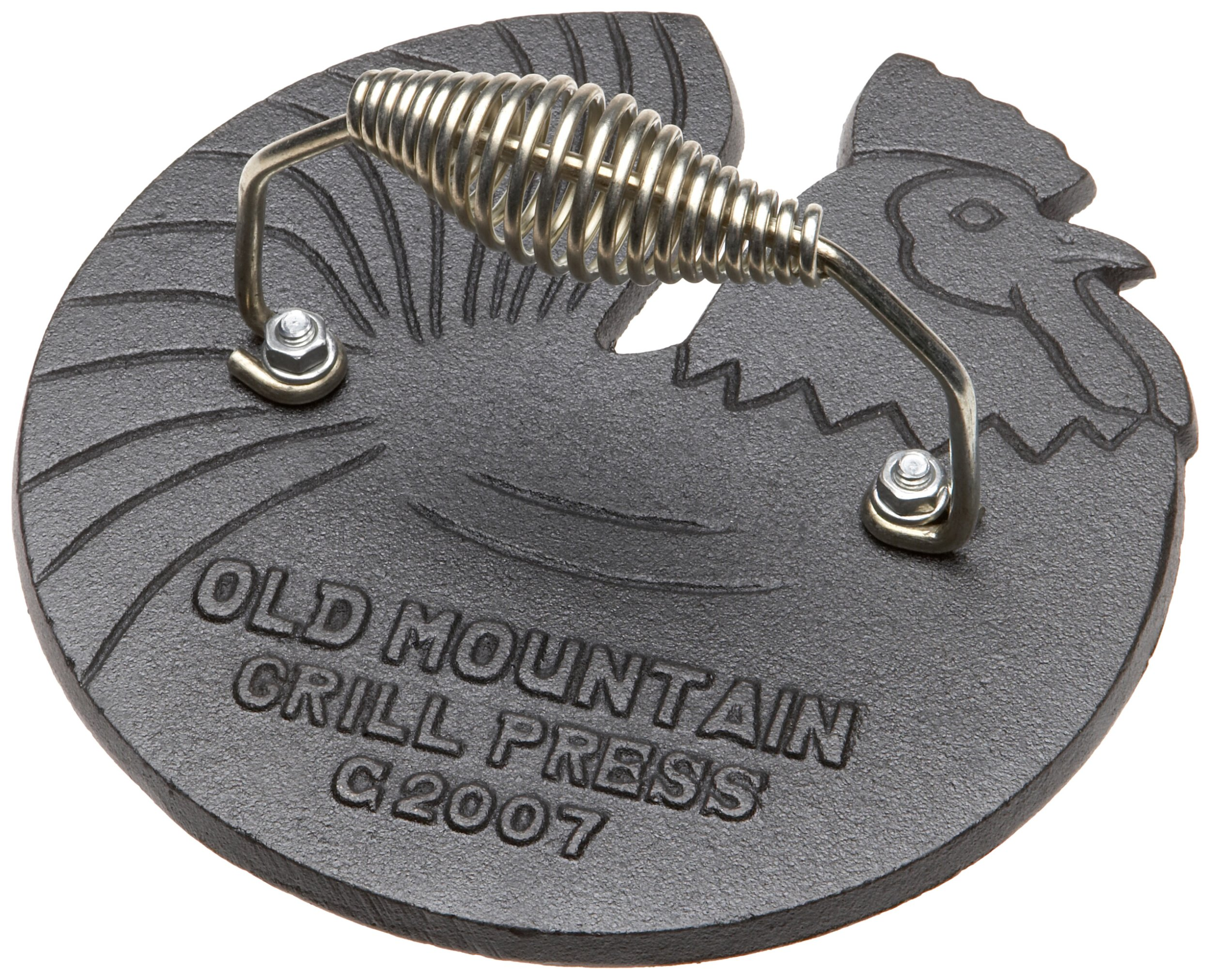 Old Mountain Pre Seasoned 10150 Rooster Shaped Bacon/Grill Press, 7 1/2 Inch Diameter