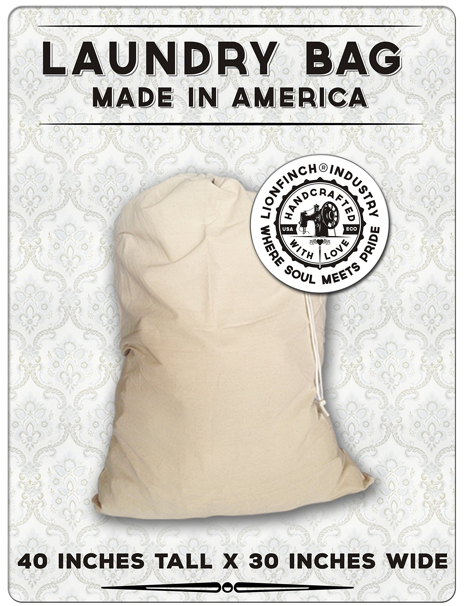 4 Count Laundry Bags-Made in America. Heavy Duty and Oversized. Holds up to 150 Pounds of Laundry. Fits All Hampers. Proudly Made in America