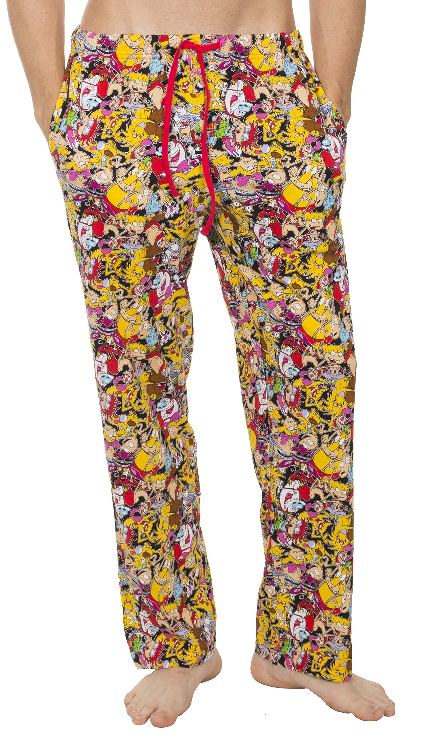 Underboss Mens Nick Rewind Nostalgia Mob Scene Multiprinted Characters Unisex Lounge Pants with Drawstring Waist Red/Yellow Small