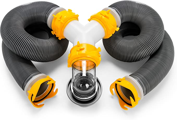 Ready To Use Kit Complete with Sewer Wye and Elbow Fittings Camco 39666 Deluxe 20 Sewer Hose Kit with Swivel Fittings and Wye Connector Hoses and Storage Caps