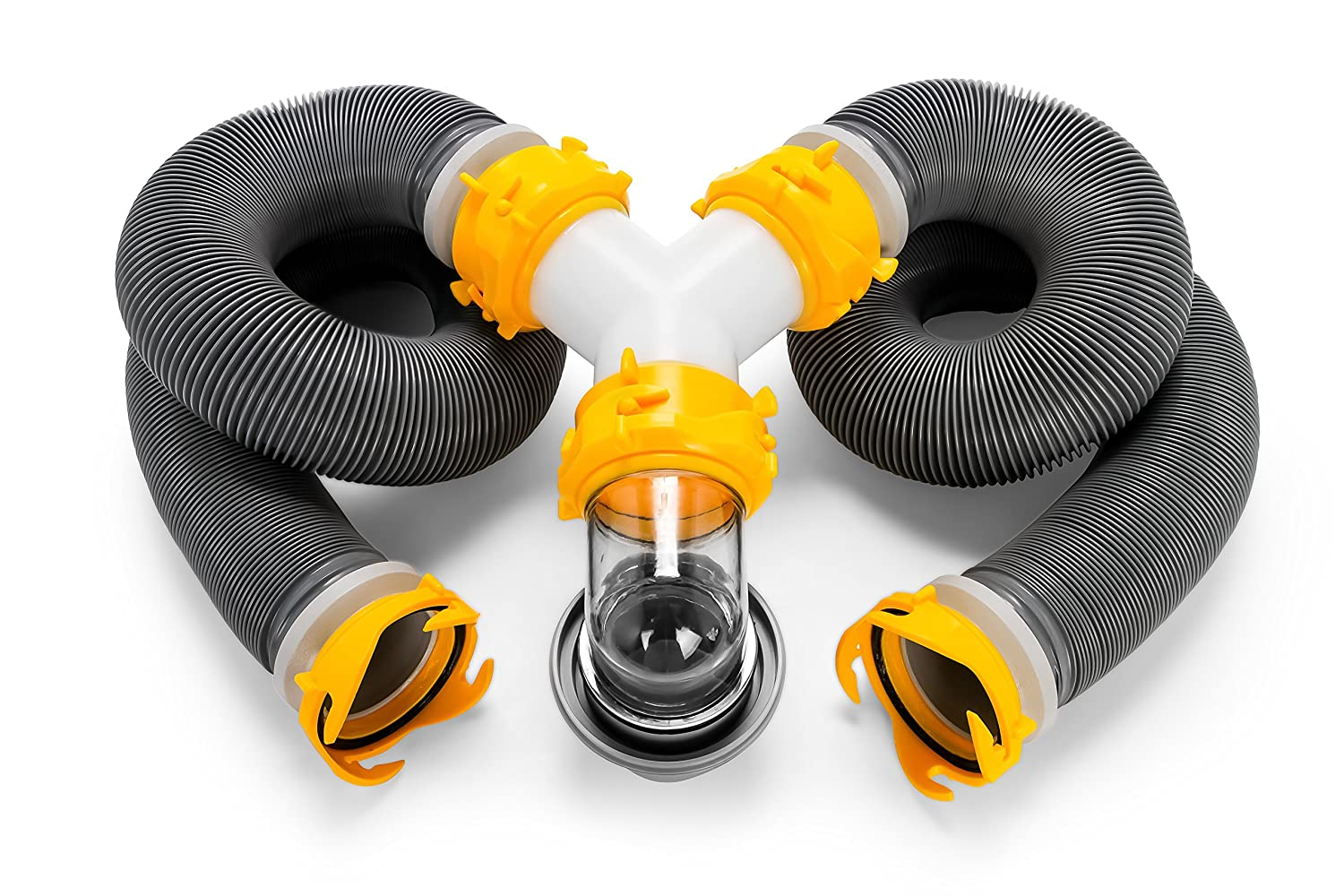 Ready To Use Kit Complete with Sewer Wye and Elbow Fittings Hoses Camco 39666 Deluxe 20 Sewer Hose Kit with Swivel Fittings and Wye Connector and Storage Caps