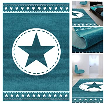 Jugendzimmer Teppiche Blau Weiss mit exklusivem Stern | Teppiche m ...